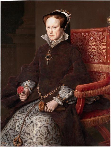 María Tudor, Reina de Inglaterra, nieta carnal de los Reyes Católicos. Autor: Antonio Moro. Museo del Prado, Madrid.