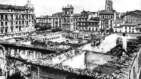 Ruinas de la Universidad de Oviedo, destruida en octubre de 1934. (Foto: https://www.lne.es/asturias/)