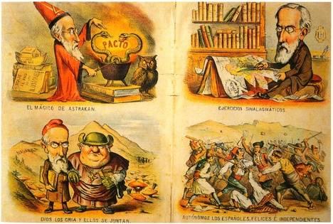 Litografías del semanario 'Las Moscas' alusivas al pacto federal de 1881 cuestionando los proyectos del político catalán Pi i Margall. Origen de la ilustración: https://www.flickr.com/photos/iesluisvelez2006-2007/2092393075