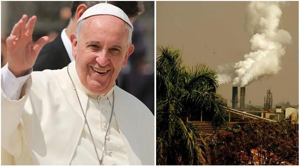 El Papa Francisco y una imagen de contaminación. Fotos: Daniel Ibáñez / ACI Prensa - Pixabay dominio Público.