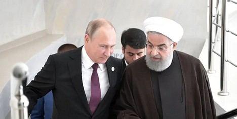 El Presidente Vladimir Putin y el Presidente  Hassan Rouhani en una cumbre en Aktau,  Kazakhstan, 12, Agosto 2018. Fuente: Sputnik/Alexei Nikolsky/Kremlin via REUTERS