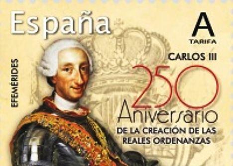 Sello conmemorativo del 250 Aniversario de las Reales Ordenanzas de Carlos III (2018).