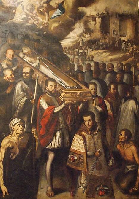Descubrimiento y traslado del cuerpo incorrupto de San Isidoro. (Lienzo del monasterio de San Isidoro del Campo, Santiponce, Sevilla.)