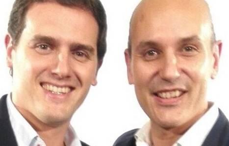 Albert Rivera y su candidato en León Sadat Maraña, ayer en Madrid