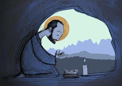 San Ignacio en la cueva. (Ilustración: https://vocaciones.jesuitas.cl/de-soldado-a-companero-la-conversion-de-san-ignacio/).