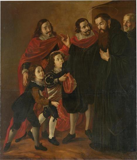 'San Benito bendiciendo a San Mauro', de Fray Juan Andrés Rizi. Museo del Prado, Madrid.