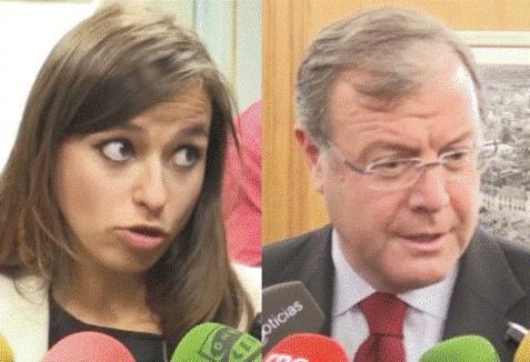 Gemma Villarroel y Antonio Silván, portavoz de Ciudadanos (C's) y alcalde (PP) del Ayuntamiento de León respectivamente.