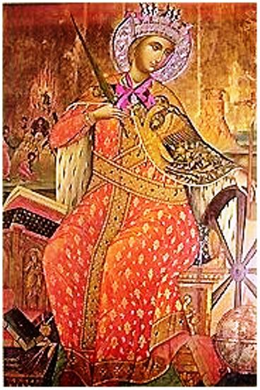Santa Catalina de Alejandría, representada con una rueda, uno de los símbolos de su martirio. Icono del monasterio homónimo situado en el monte Sinaí, siglo XVII.