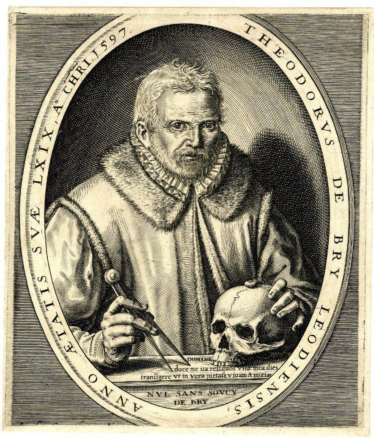 Johann Theodorus de Bry, (Lieja, 1528 – Fráncfort, 1598). Un antecedente histórico singular.