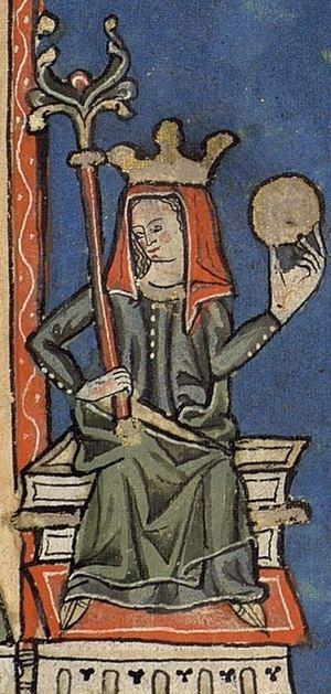 Teresa de León (primera reina de Portugal). Miniatura medieval (Wikipedia).