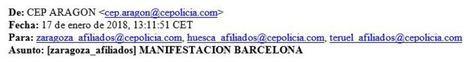 La prueba del boicot de los sindicatos policiales a JUSAPOL y la manifestación de Barcelona