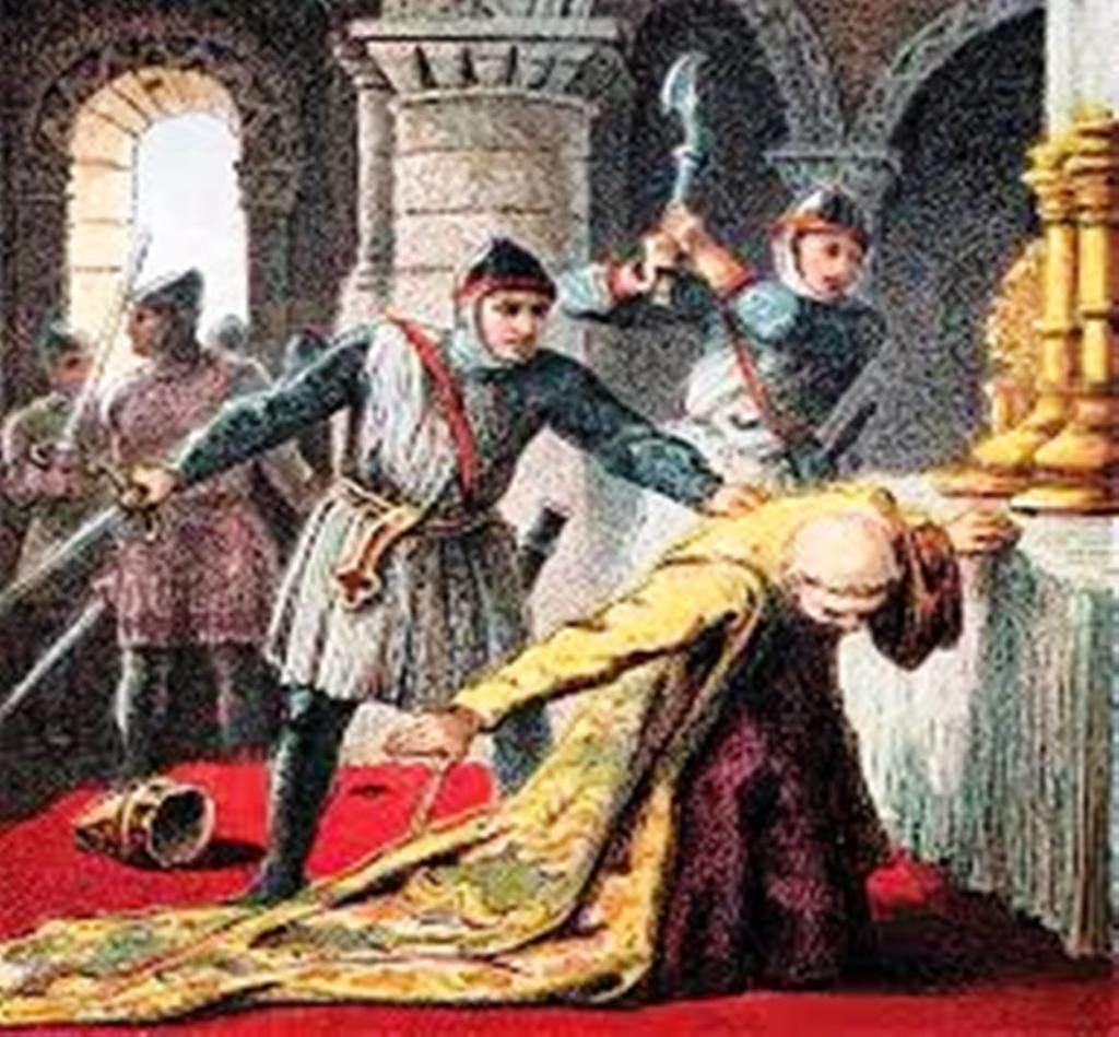 Asesinato de Tomás Becket, arzobispo de Canterbury, por orden del rey de Inglaterra, Enrique II de Plantagenet.