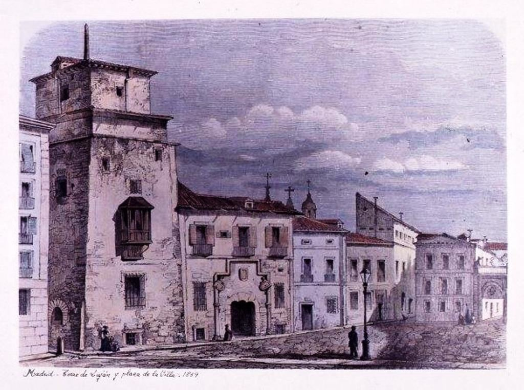 'Torre de Luján y Plaza de la Villa 1859' en Madrid, de Jesús Evaristo Casariego. (Foto: https://artedemadrid.wordpress.com/)