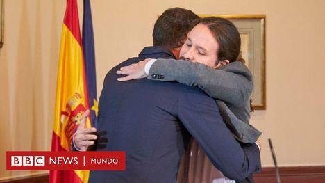 El abrazo de Pedro Sánchez y Pablo Iglesias. (Foto www.BBCnews.com)