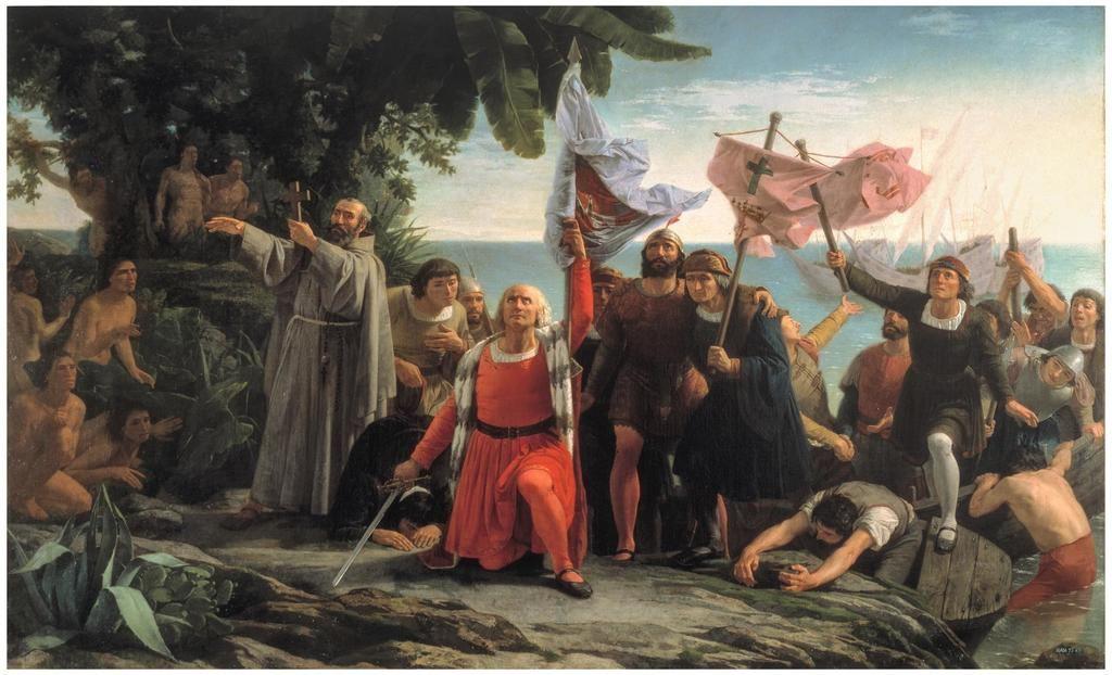 Óleo de Dióscoro Teófilo Puebla y Torín: 'Primer desembarco de Cristóbal Colón en América. (Museo del Prado, Madrid).