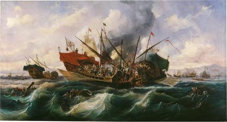 Antonio de Brugada Vila, 'Episodio del combate de Lepanto', el día 7 de octubre de 1571. (Museo del Prado, Madrid)