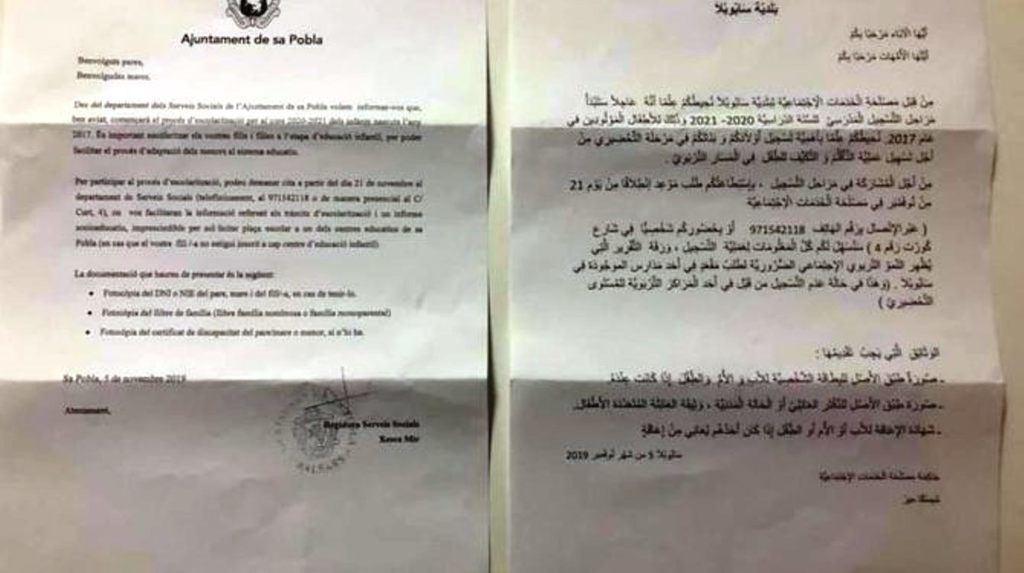 Carta del Ayuntamiento de Sa Pobla (Mallorca) a los padres en catalán y árabe.
