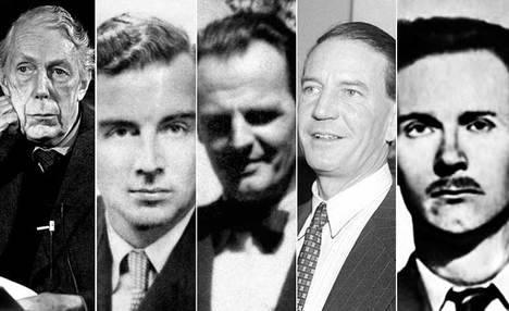 Los cinco de Cambridge: de izquierda a derecha Anthony Blunt, Guy Burgess, Donald Maclean, Kim Philby y John Cairncross. (Ilustración: www.apuntesdehistoria.net)