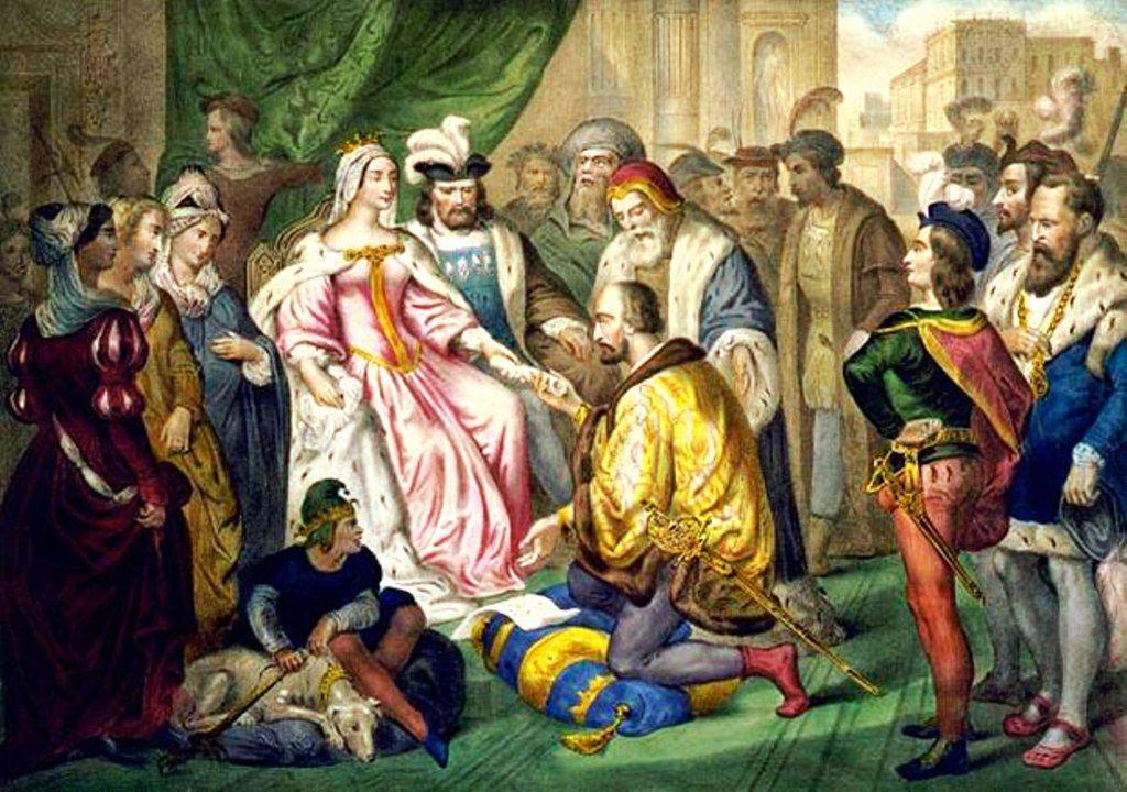 'Colón ante los Reyes Católicos'. Óleo de Antonio González Velázquez (Madrid, 1723-1794),