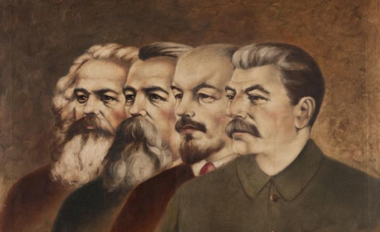Carlos Marx, Federico Engels, Vladimir Lenin y José Stalin, padres del comunismo