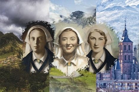 Las enfermeras vejadas y asesinadas: Mª Pilar Gullón Yturriaga, Olga Pérez-Monteserín Núñez y Octavia Iglesias Blanco. (Ilustración: Diócesis de Astorga).