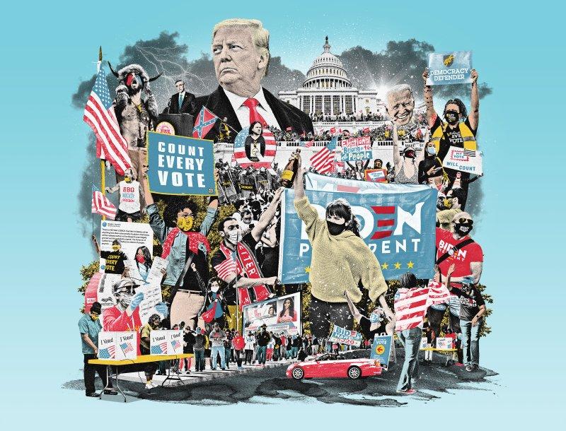 Ilustración de Ryan Olbrysh para el TIME, en el artículo de Molly Ball 'The Secret History of the Shadow Campaign That Saved the 2020 Election'.