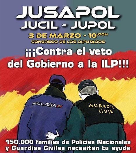 Reacción de Policía Nacional y Guardia Civil al veto del Gobierno a su ILP: los sindicatos JUPOL y JUCIL convocan este martes frente al Congreso de los Diputados