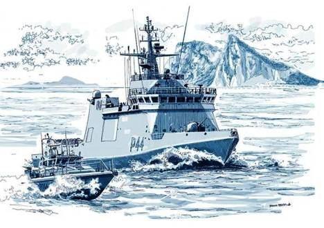 """'Representación artística de nuestro compañero de Foro Naval, Txema Prada, del BAM TORNADO P-44 de la Armada española siendo """"escoltado"""" por la patrullera HMS SCIMITAR P-284 de la Royal Navy frente a Catalán Bay, en cara Sur-Este del Peñon durante el último incidente fronterizo con Gibraltar'. (Pie y foto de Foro Naval, 26 febrero 2019)"""