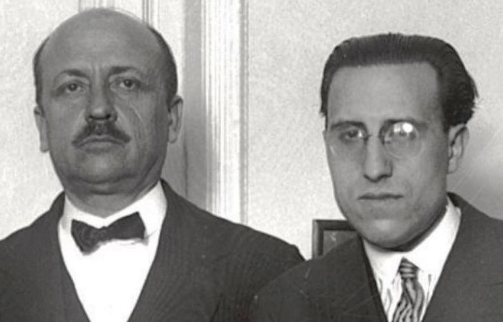Ernesto Giménez Caballero (a la derecha) junto al escritor italiano e ideólogo fascista, en la década de los treinta del pasado siglo,  Filippo Tomasso Marinetti. (Foto: https://elosoblindado.com/2020/08/03).