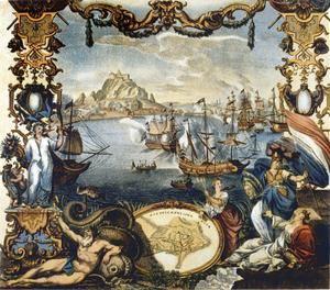 La rendición de Gibraltar en agosto de 1704, grabado de Johann August. (https://historia.nationalgeographic.com.es)