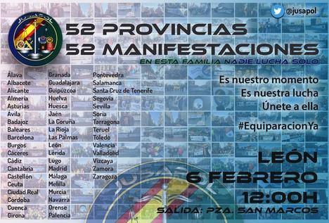 Continúan las manifestaciones convocadas por JUSAPOL en toda España