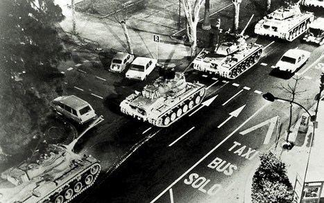 Valencia: los tanques en la calle la noche del 23 de febrero de 1981.