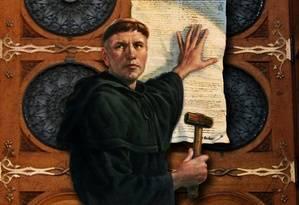 Lutero clava sus tesis en la Puerta de la Schlosskirche