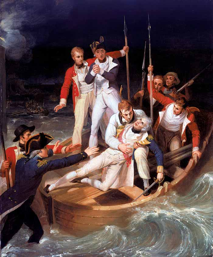 Nelson herido en la batalla de Tenerife. Pintura de Richard Westall. National Maritime Museum, Londres, Greenwich Hospital Collection. (Foto: https://www.todoababor.es/).