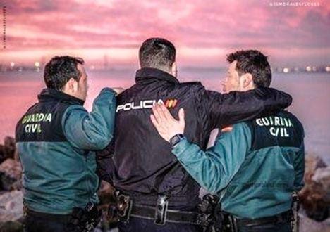 Agentes de la Guardia Civil y de la Policía Nacional