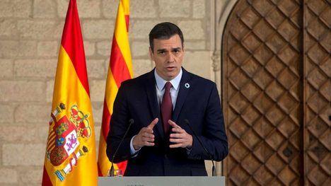 Pedro Sánchez en rueda de prensa después de su encuentro con el visir Torra. (Foto: EFE)