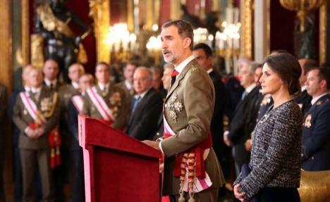 S. M. FELIPE VI DURANTE SU INTERVENCIÓN EN EL SALÓN DEL TRONO DEL PALACIO REAL © Casa de S.M. el Rey