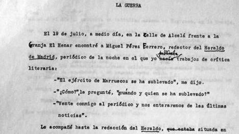La Guerra Civil en las memorias de Ricardo Gullón. (Foto: ABC 04/10/2017)