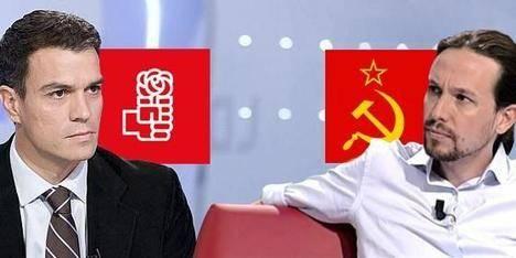 La izquierda española: Pedro Sánchez (socialista) y Pablo Iglesias (comunista)